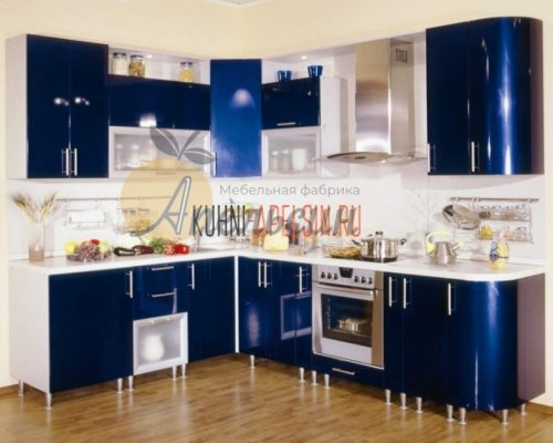 Кухня синяя 11
